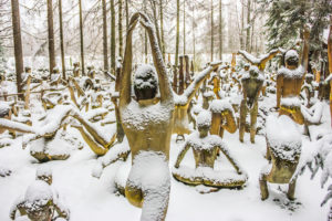 Patsaspuisto (Mystical forest) with 500 sculptures. KOITSANLAHTI, PARIKKALA, FINLAND
